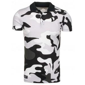Sivé polo tričká s army motívom