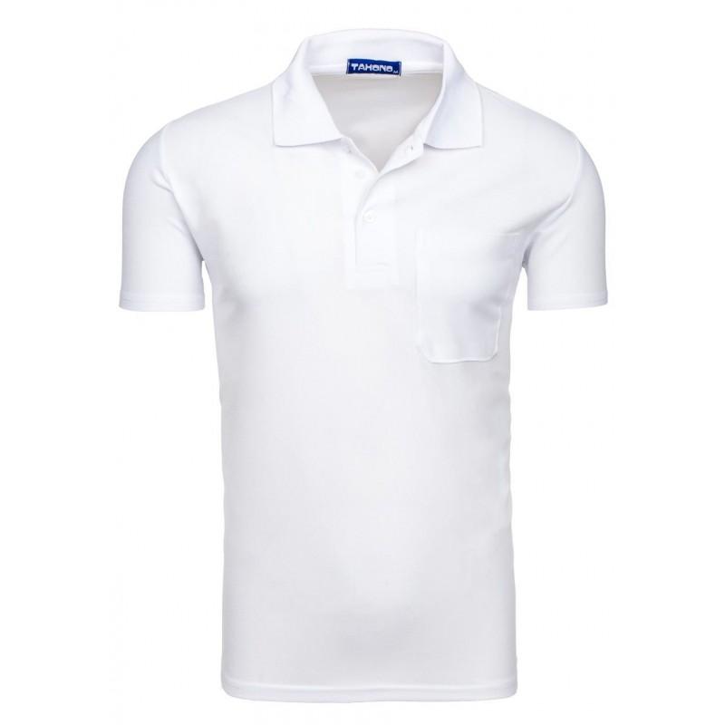 9f68a82dda90 Biele pánske polo tričko s vreckom vpredu - fashionday.eu