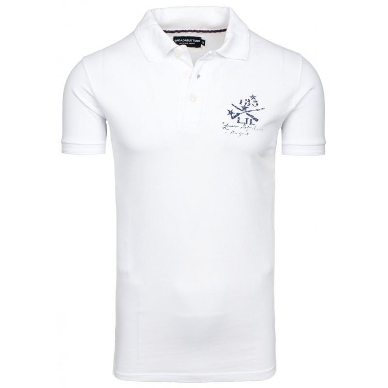 822e29b748f4 Štýlové biele pánske polo tričko s nášivkou na chrbte - fashionday.eu