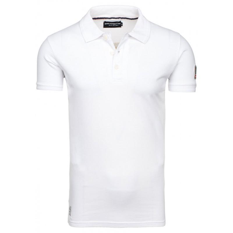 ebe8f105d968 Bavlnené biele pánske polo tričká s americkou vlajkou - fashionday.eu