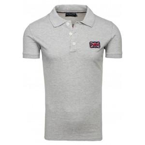 Bavlnené sivé polo tričko s krátkym rukávom