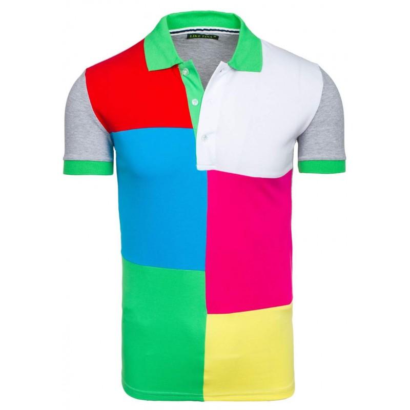 4179b17d1041 Predchádzajúci. Sivé pánske polo tričká s farebnými štvorcami ...