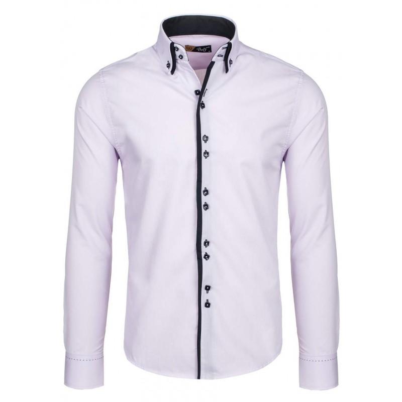 0f6ccffce157 Svetlo ružová pánska košeľa s lemovaním okolo gombíkov - fashionday.eu