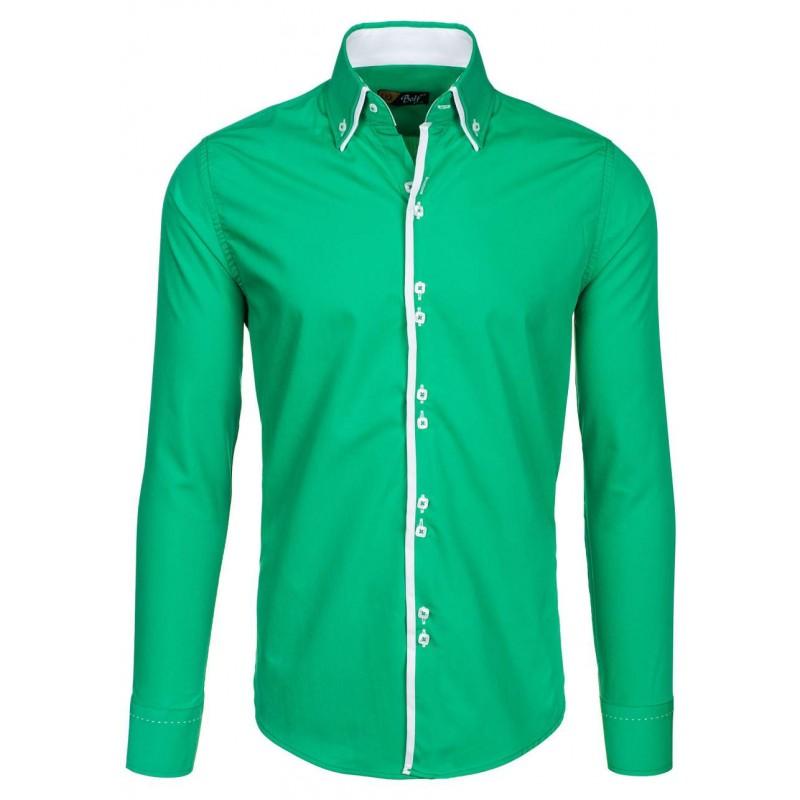 76d9c3f5de24 Štýlové zelené pánske košele s dlhým rukávom - fashionday.eu