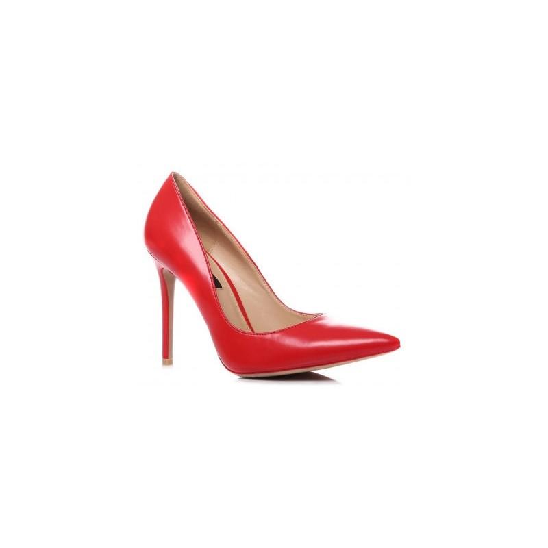 Vysoké červené dámske lodičky so špicatou špičkou - fashionday.eu 9490bc53c8d