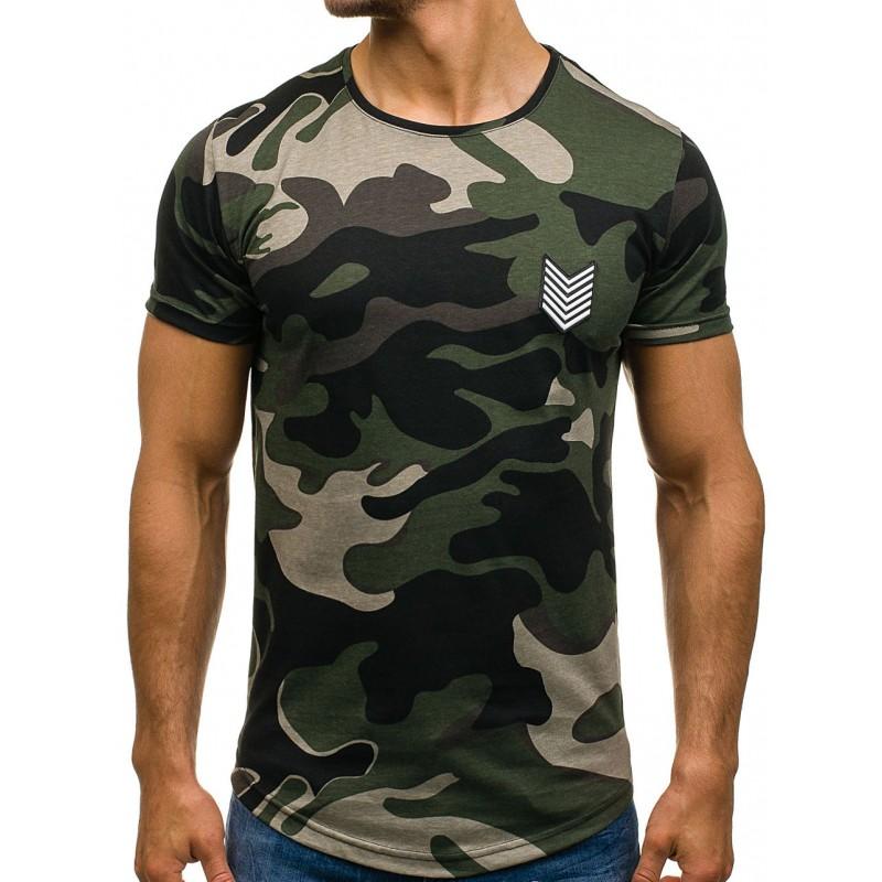 e3df69b5e Zelené pánske tričko v army motíve - fashionday.eu