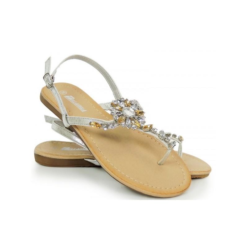 e443c75620b9 Predchádzajúci. Strieborné dámske sandále s kamienkami ...
