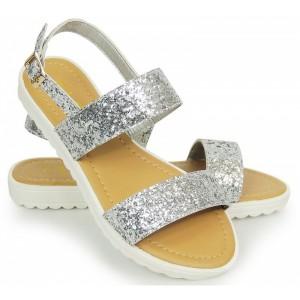 Strieborné dámske sandále s hrubšou podrážkou