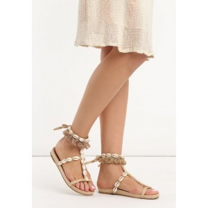 98f308a104f6 Dámske béžové vintage sandálky s ozdobnými kvetmi na nízke podrážke