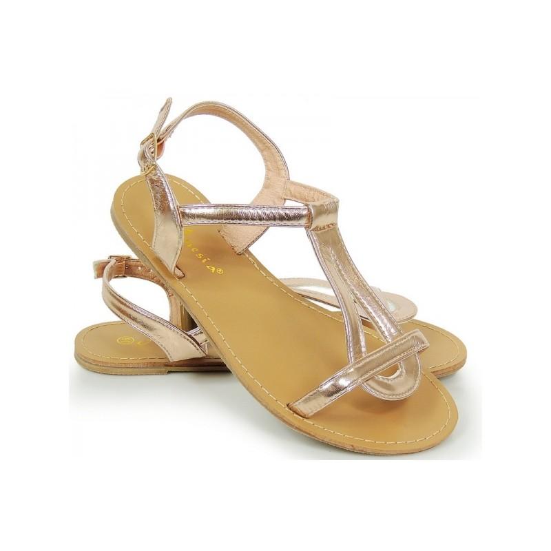 ba1b4b19588e Elegantné zlaté dámske sandále na leto - fashionday.eu