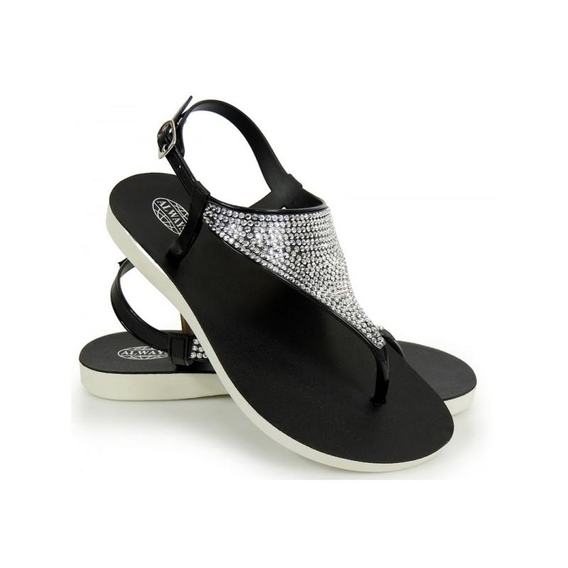 49f2054a204c Predchádzajúci. Čierne dámske sandále s kamienkami ...