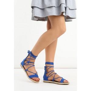 Pohodlné dámske gladiátorky v modrej farbe