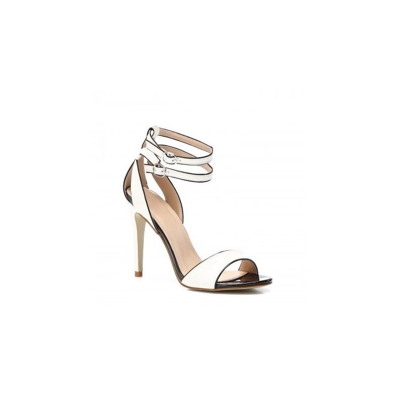 259a50d73e27a Biele dámske sandále na opätku s dvojitým zapínaním - fashionday.eu