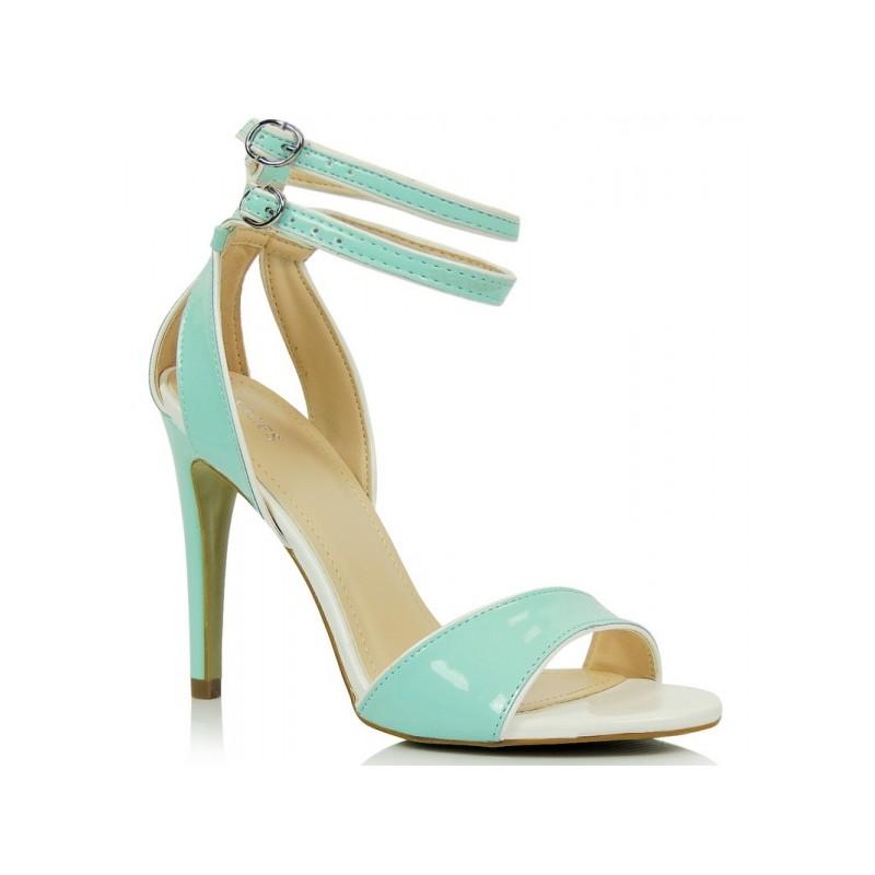 ff0dc322ddaa Dámske spoločenské sandále na opätku v mätovej farbe - fashionday.eu