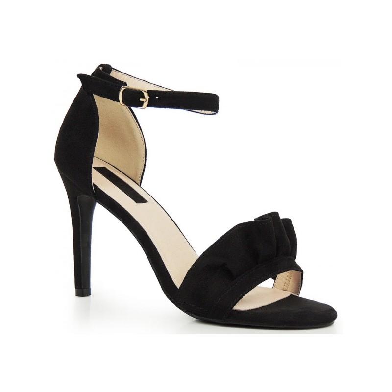Čierne dámske sandále na opätku semišové - fashionday.eu 4124a5430dc