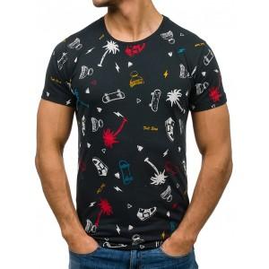 Čierne tričko pre mužov s motívmi