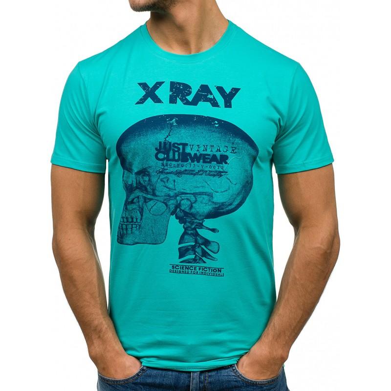 9dc640ab756e Predchádzajúci. Zelené pánske tričko s motívom lebky ...