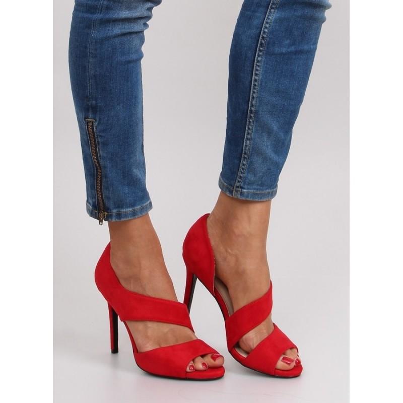 5b033a9ef6 Elegantné červené dámske sandále podpätku - fashionday.eu