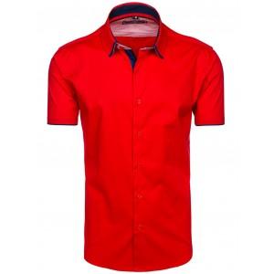 Pánska červená košeľa s krátkym rukávomslim fit