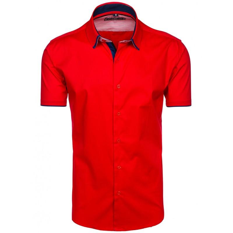 6a7acdc61b69 Pánska červená košeľa s krátkym rukávom slim fit - fashionday.eu