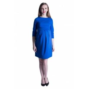 Spoločenské modré tehotenské šaty nad kolená