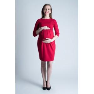Červené tehotenské šaty na leto