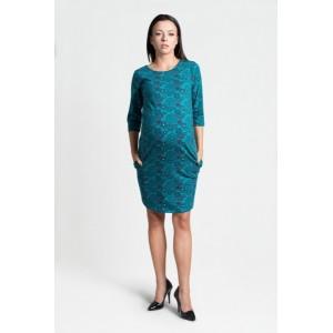 Tyrkysové šaty pre tehotné s trojštvrťovým rukávom