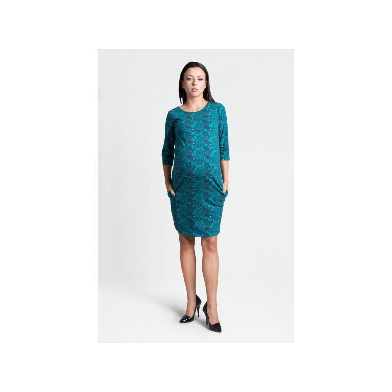 Tyrkysové šaty pre tehotné s trojštvrťovým rukávom - fashionday.eu 01e97bc155a