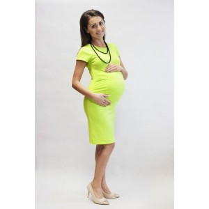 Letné žlté tehotenské šaty s krátkym rukávom