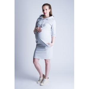 Športové tehotenské šaty sivej farby