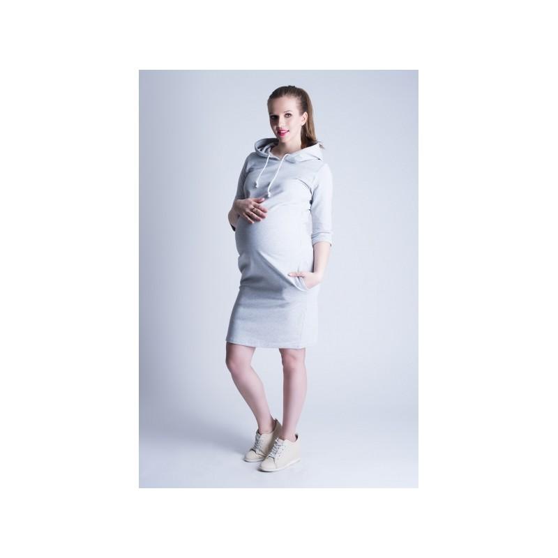6be2bef29f Športové tehotenské šaty sivej farby - fashionday.eu