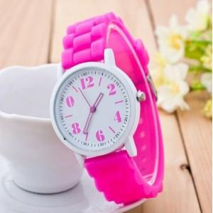Ružové dámske hodinky silikónové