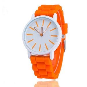 Dámske hodinky so silikónovým remienkom oranžovej farby