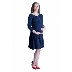 Modré tehotenské šaty s nariasenou sukňou
