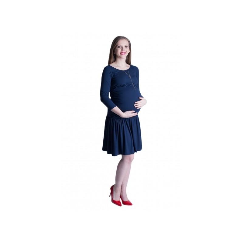 Modré tehotenské šaty s nariasenou sukňou - fashionday.eu cb4a24a39d