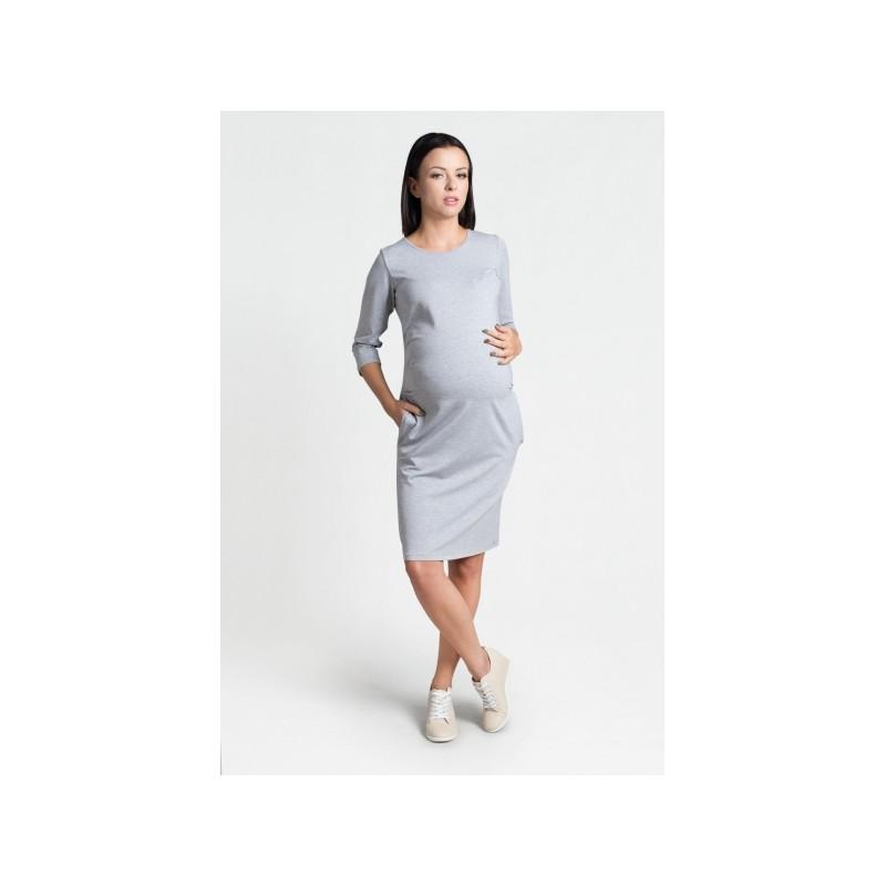 6afb8d0c8296 ... Svetlo sivé šaty pre tehotné s vreckami a trojštvrťovým rukávom ...