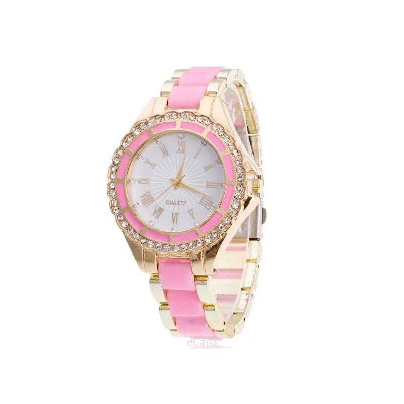 7f316657d Svetlo ružové dámske hodinky s kamienkami - fashionday.eu