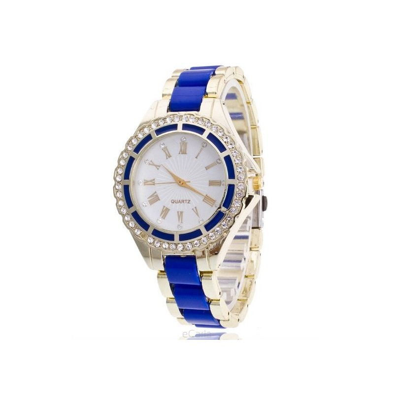1ed3d8030b Dámske modré hodinky s kamienkami - fashionday.eu