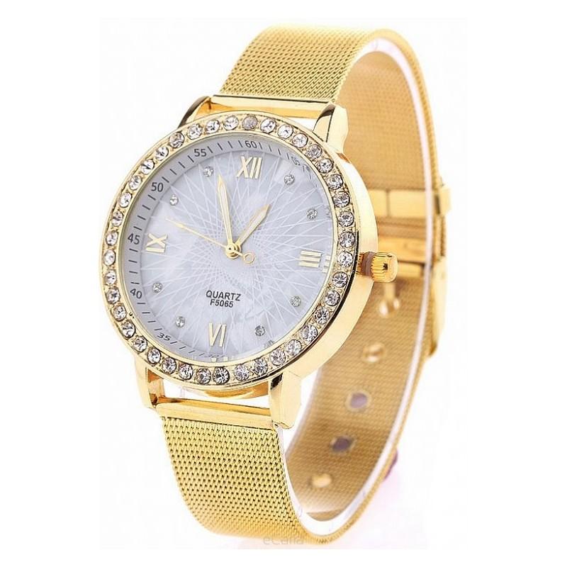 7688177a2b Dámske zlaté hodinky s ozdobnými kamienkami - fashionday.eu