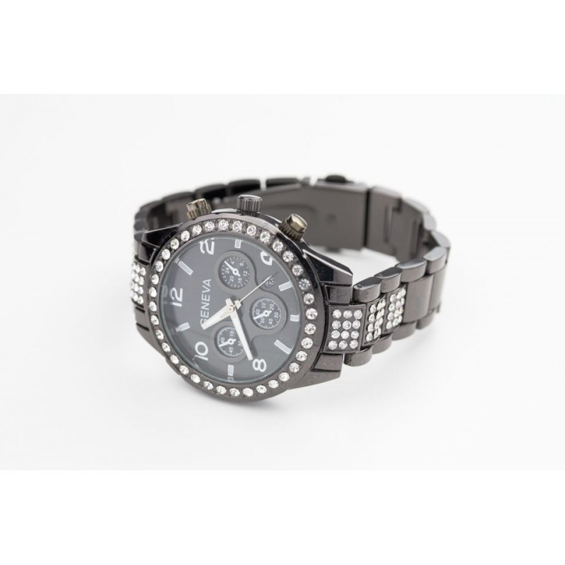 Čierne dámske hodinky s aplikáciou kamienkov - fashionday.eu 1473ffe99fb