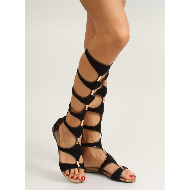 6a01a24e7634 Elegantné čierne dámske gladiátorky s otvorenou špičkou - fashionday.eu