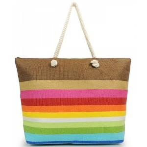 Farebná letná plážová taška s pruhmi