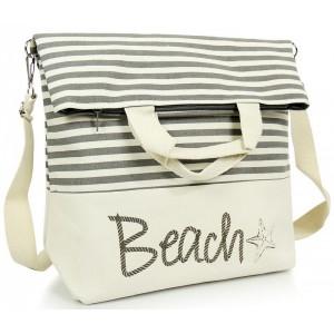 Pruhovaná plážová taška s nápisom