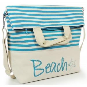 Modrá dámska plážová taška so zapínaním na zips