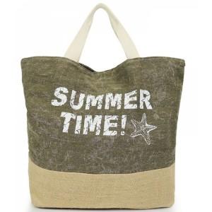 Dámska plážová taška zelenej farby
