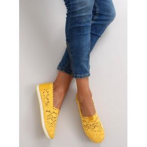 Letné háčkované espadrilky žltej farby