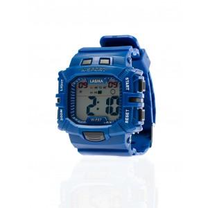 Tmavo modré športové pánske hodinky digitálne