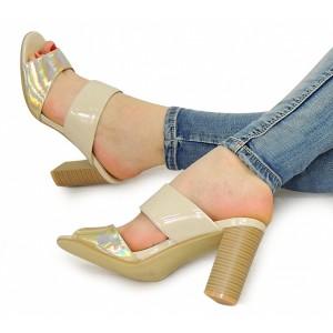 Béžové dámske sandále s otvorenou špičkou