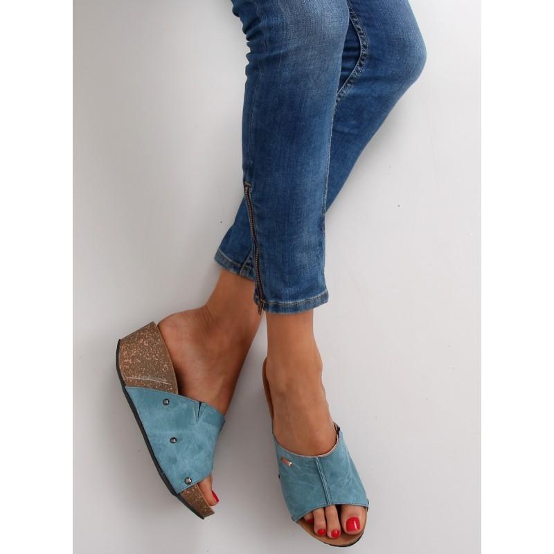 b1a0cf3d89 Pohodlné letné dámske šľapky modrej farby - fashionday.eu