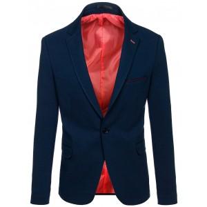 Elegantné modré pánske sako s lemovaním